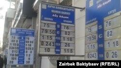 У пунктов обмена валюты в Кыргызстане. Иллюстративное фото.