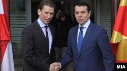 Архивска фотографија. Средба на министрите за надворешни работи на Македонија и Австрија, Никола Попоски со Себастијан Курц.