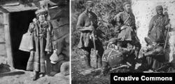 Žena, pripadnica etničke grupe Hevsuri (lijevo) fotografisana 1881. godine i hevsurski ratnici 1901. godine.