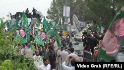 Шествие сторонников бывшего премьер-министра Пакистана Наваза Шарифа в Равалпинди. 9 августа 2017 года.