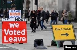Акция сторонников Брекзита у здания парламента в Лондоне