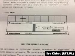 Схема ШИЗО (штрафного изолятора), в который руководство ИК-7 поместило Ильдара Дадина после его жалоб на пытки