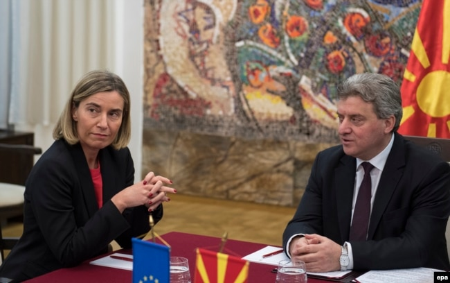 EU foreign policy chief Federica Mogherini (left) talks with Macedonian President George Ivanov during her visit to Skopje on March 2.