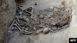 Останки 14 человек, убитых в 1937 году и найденных в массовом захоронении в окрестностях Севильи. Испания, 2012 год