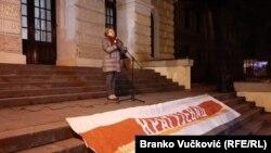 Biljana Stojković na protestu u Kragujevcu