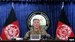 U.S. Army General John Nicholson, Commander of Resolute Support forces and U.S. forces in Afghanistan, speaks during a news conference in Kabul on April 14, 2017
