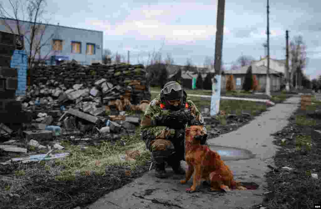 A Ukrainian soldier plays with a dog in the eastern city of Debaltseve in December 2014.