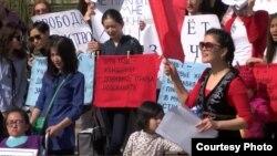 Митинг в защиту прав женщин в Бишкеке. Архивное фото.