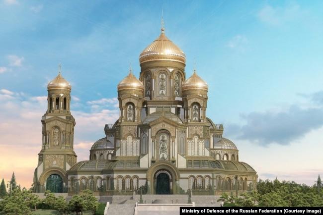 Макет храма, который планируют построить в парке  Патриот