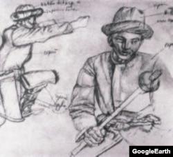 Бела Уиц. Кыргыз ССР Өкмөт Үйүндөгү фрескага эскиз. 1936