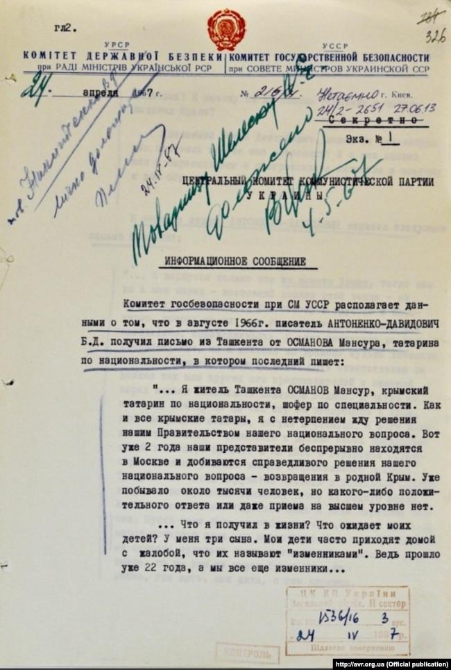 Повідомлення КДБ про листування кримського татарина Османова з письменником Антоненко-Давидовичем