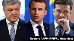 Petro Poroshenko, Emmanuel Macron, Volodymyr Zelensky