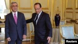 Ֆրանսիա - Ֆրանսիայի նախագահ Ֆրանսուա Օլանդի և Հայաստանի նախագահ Սերժ Սարգսյանի հանդիպումը Ելիսեյան պալատում, Փարիզ, 1-ը հոկտեմբերի, 2013թ․