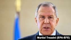 Russian Foreign Minister Sergei Lavrov delivers a speech to the UN Human Rights Council in Geneva on February 28.