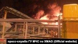 """Пожар на месторождении """"Роснефти"""" в ХМАО"""
