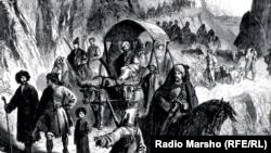 Чеченцы покидают родные места после Кавказской войны, 19 век. Неизвестный художник