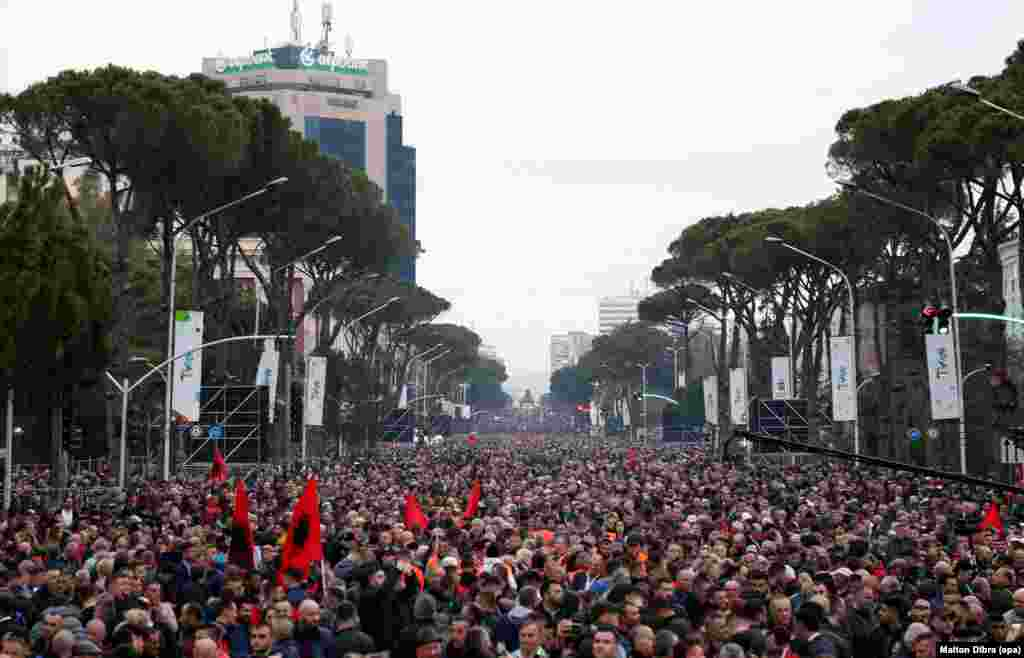 Albania, March 2: A massive political protest fills the streets of Tirana. On March 8, Albania reported its first two cases of COVID-19 when a father and son tested positive for the virus after the son returned from Italy.  Four people have been killed by the coronavirus in Albania as of March 23.