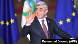 BELGIUM -- Armenian President Serzh Sarkisian arrives for an EU Eastern Partnership summit with six eastern partner countries at the European Council in Brussels, November 24, 2017.