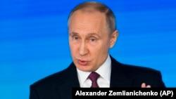 Presidenti rus, Vladimir Putin në fjalimin e tij të sotëm në Moskë.