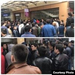 Владельцы магазинов собрались возле здания торгового комплекса «Малика», март 2018 года.