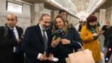 Nikol Pashinian campaigns in Yerevan's subway on December 5.