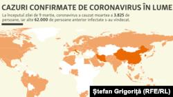 Cazuri confirmare de coronavirus la nivel mondial