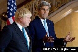 Боріс Джонсон та Джон Керрі на спільній прес-конференції після зустрічі щодо ситуації в Сирії. Лондон, 16 жовтня 2016 року