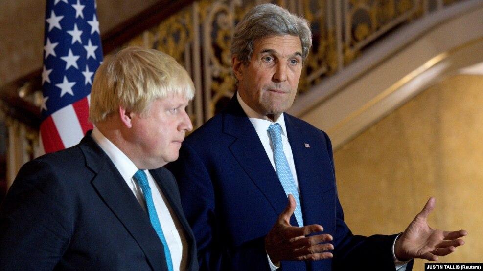 Министр иностранных дел Великобритании Борис Джонсон и госсекретарь США Джон Керри, Лондон, 16 октября 2016 г.