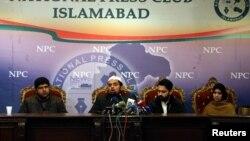 Pakistanda ýitirim edilen aktiwistleriň garyndaşlary metbugat-konferensiýasynda çykyş etdiler, Yslamabat, 18-nji ýanwar, 2017.