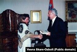 Весна Шкаре-Ожболт та президент Хорватії Франьо Туджман, кінець 90-х