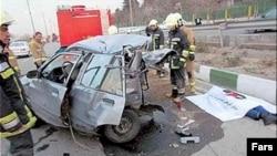 صحنه تصادف روز پنجشنبه کارمند سفارت عربستان در تهران. ۱۴ مارس ۲۰۱۳.