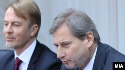 Euro Commissioner Johannes Hahn visits Macedonia, 17 February 2015.