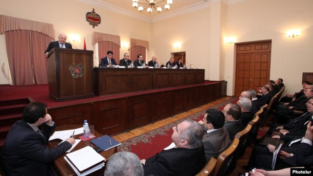 Armenia - The leadership of the Office of the Prosecutor-General meets in Yerevan, 24Feb2012.