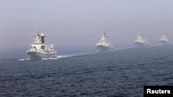 An earlier China-Russia joint naval exercise in the Yellow Sea