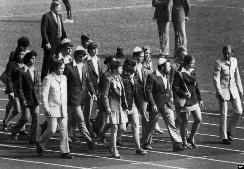 Members of the Israeli team march onto the field at Munich's Olympic Stadium on September 6, 1972 for a memorial ceremony for their countrymen killed by the Palestinian gunmen.