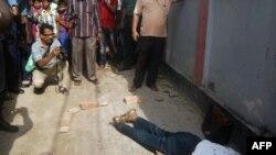 Tijelo ubijenog profesora Rezaula Karima Sidikeja, 23. april 2016.