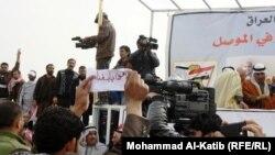 صحفيون في ساحة الاحرار في الموصل