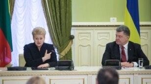 Президент України Петро Порошенко та президент Литви Даля Ґрібаускайте під час зустрічі в Києві. 24 листопада 2014 року