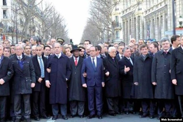 The image of the January 11 Paris unity rally as shown by ultra-Orthodox Jewish website HaMevaser