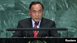 Канат Саудабаев выступает на сессии Генеральной ассамблеи ООН. Нью-Йорк, 22 сентября 2010 г.
