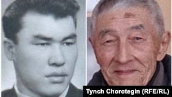 Кыргызские историки Ысман Кожомбердиев (1928—1988) и Мидил Жамгырчынов (род. в 1938 г.). Коллаж. 20.6.2018.