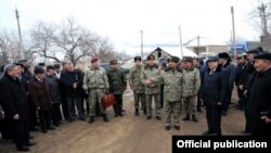 Azerbaijan -- Minister of Defense Zakir Hasanov visits Alibeyli village - 07Feb2014
