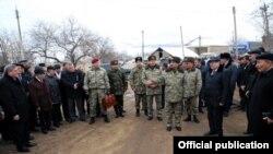 Azerbaijan -- Minister of Defense Zakir Hasanov visits Alibeyli village - 07Feb2014