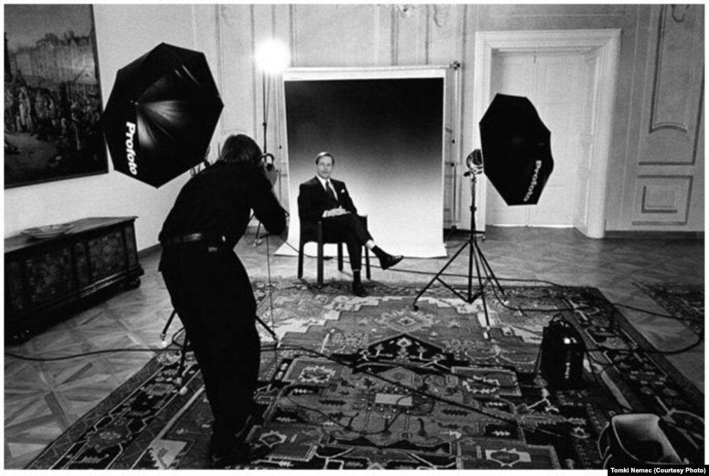 Vaclav Havel sitting for an official portrait as Czechoslovakia's head of state in 1992.