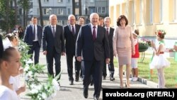 Belarusian President Alyaksandr Lukashenka opens a school in Minsk on September 2.