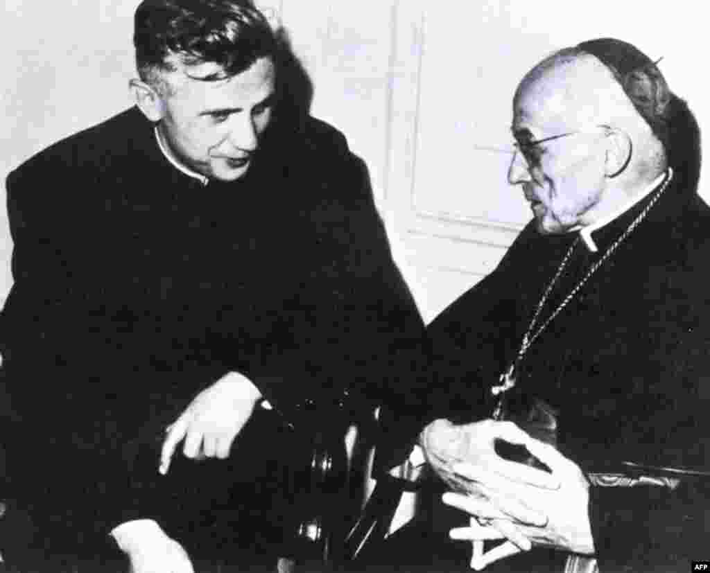 Josef Ratzinger (left), then a professor of theology, talks with Cologne's Cardinal Joseph Frings in Rome, between 1962 and 1965.