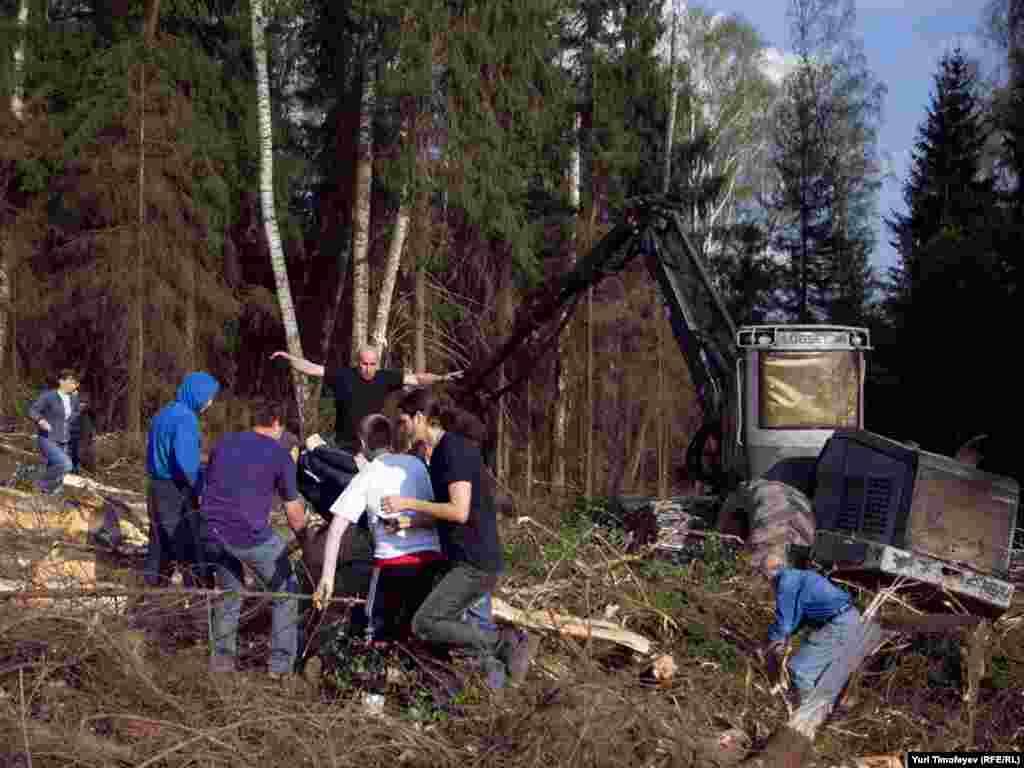 Столкновение защитников химкинского леса с неизвестными, осуществляющими охрану места вырубки