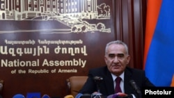 Armenia - Parliament speaker Galust Sahakian at a news conference in Yerevan, 20Nov2014.