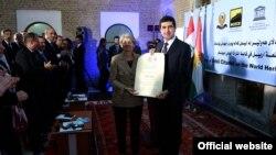 رئيس حكومة إقليم كردستان نيجيرفان بارزاني والمديرة العامة لمنظمة يونسكو إيرينا باكوفا في مراسم إدراج قلعة أربيل الأثرية ضمن لائحة التراث العالمي