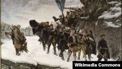Густаў Цэдэрстрэм, «Перанясеньне цела караля Карла ХІІ праз нарвэскую мяжу» (1884)